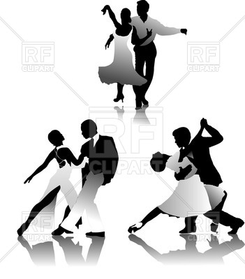 351x400 Black White Silhouettes Of Tango Dancers Royalty Free Vector Clip