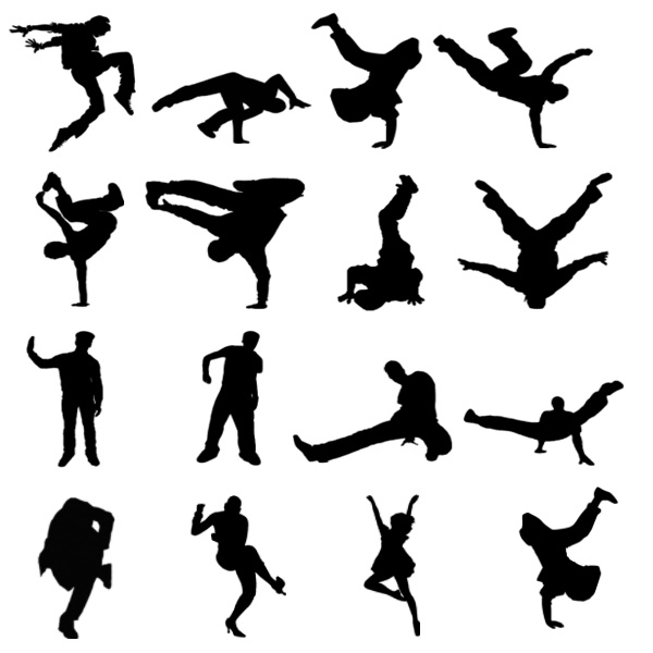 600x600 Break Dance Silhouette Brushes Free Pack.