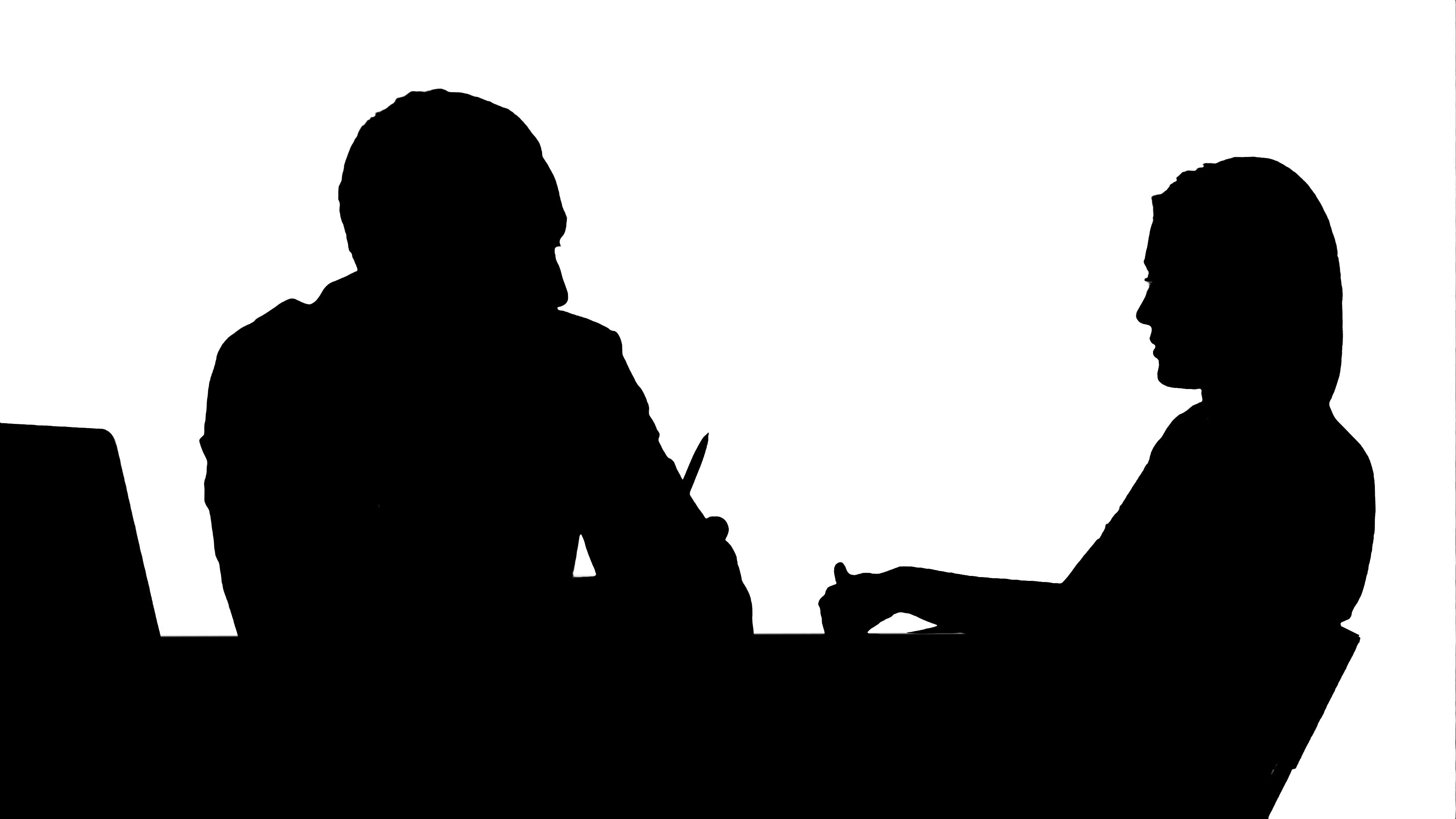 3840x2160 Silhouette Smiling Doctor Talking With Patient Track Matte Stock
