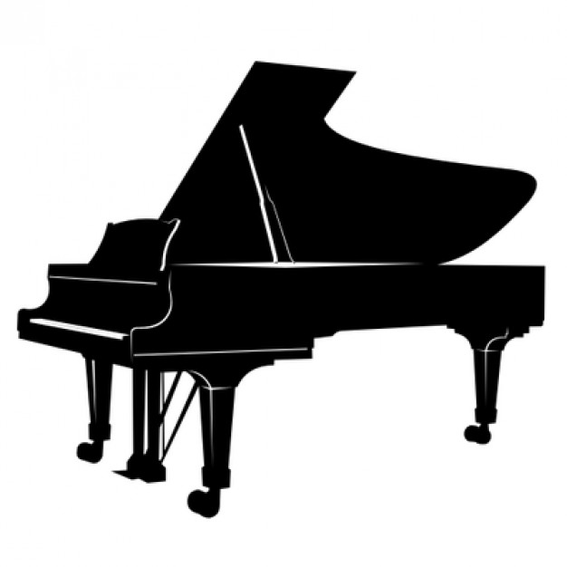 626x626 Musical Piano Silhouette In Black Color Vector Free Download