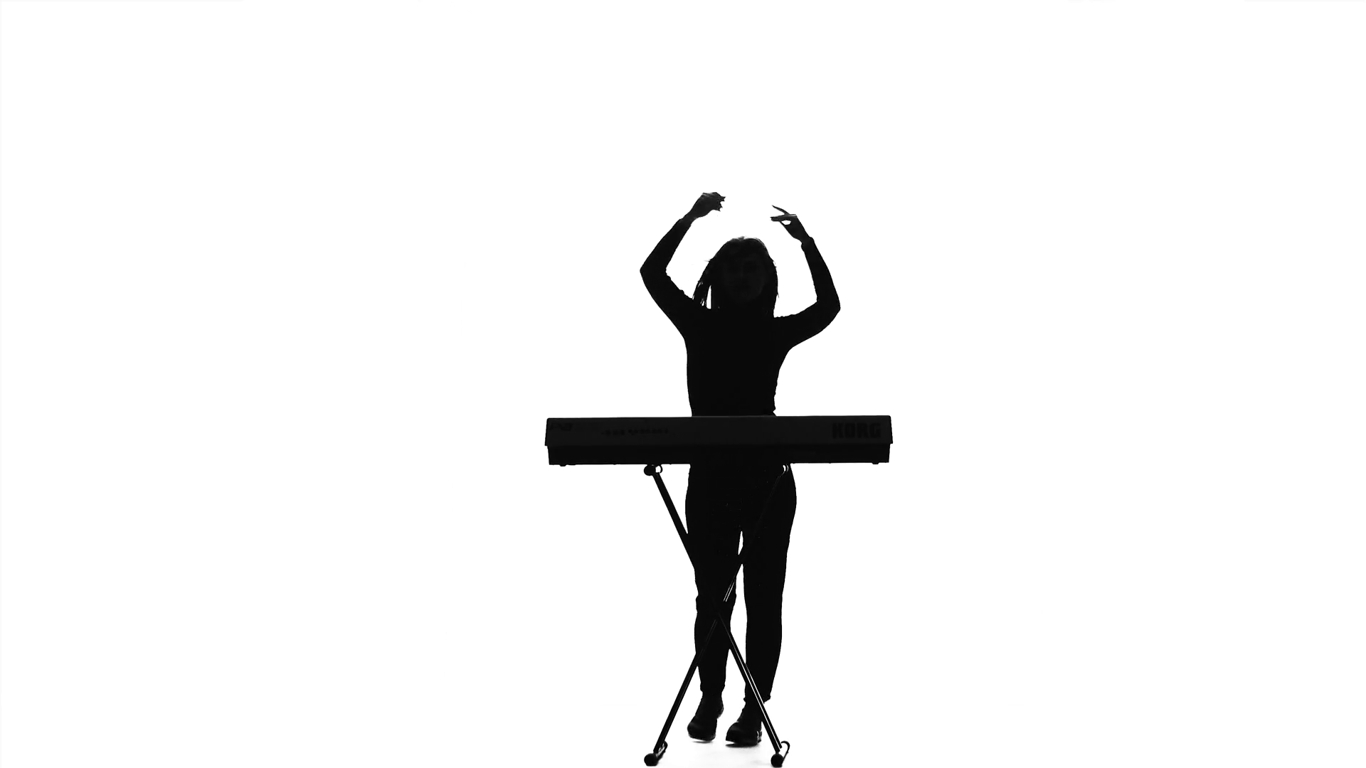 1920x1080 Woman Is Dancing For The Electronic Piano. Silhouette. Studio