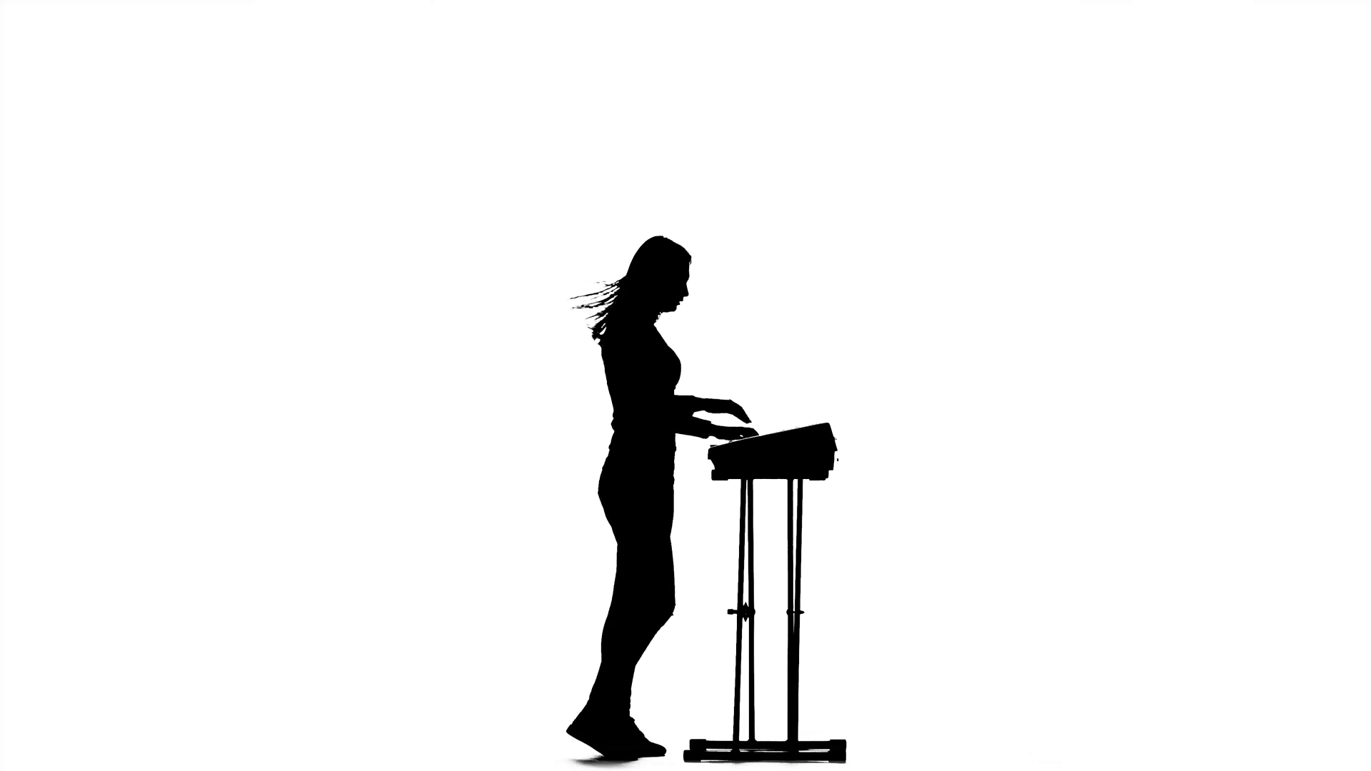 1920x1080 Silhouette. Piano. Girl Playing Fast Music And Claps. Studio Stock