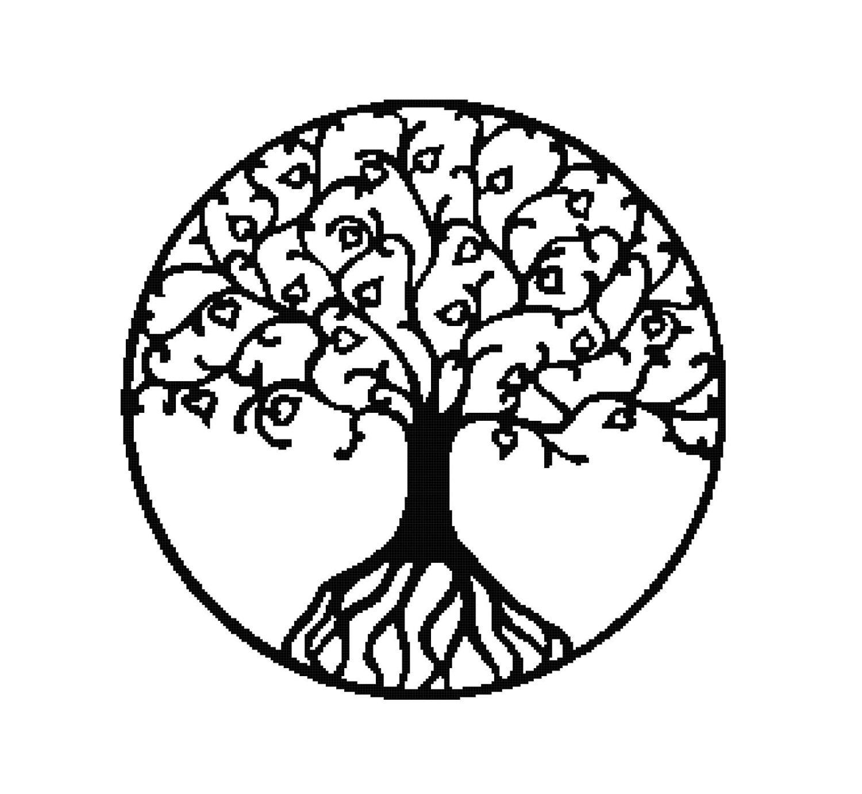 1500x1381 Handmade Tree Silhouette Pdf Cross Stitch Pattern