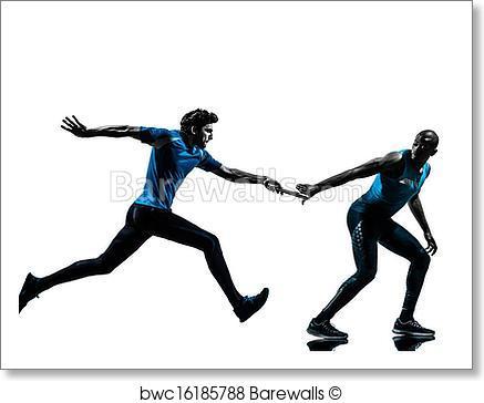 437x364 Art Print Of Man Relay Runner Sprinter Silhouette Barewalls