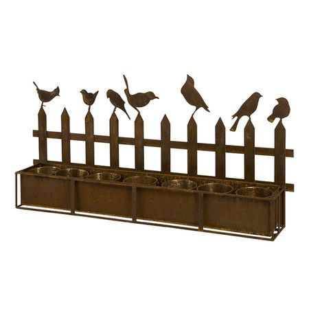 450x450 Iron Planter With A Picket Fence Silhouette. Product Planter