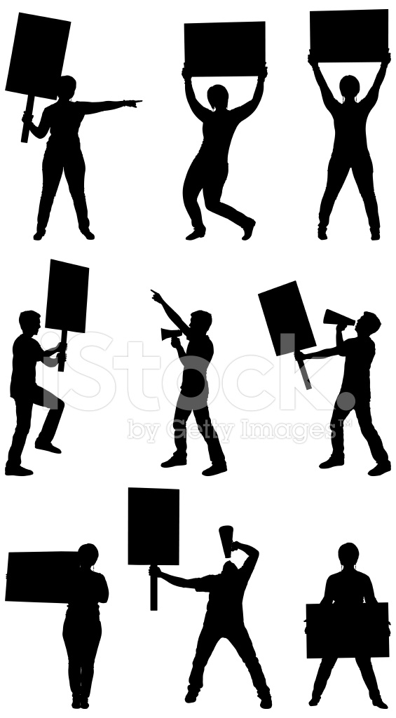 565x1024 Protesters With Picket Signs Stock Vector