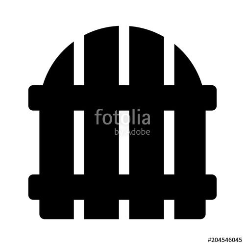 500x500 Simple, Black Silhouette Of A Picket Fence Gate. Isolated On White