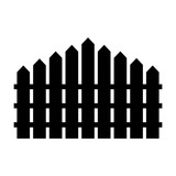160x160 Simple Picket Fence Silhouette (Black) Icon. Isolated On White