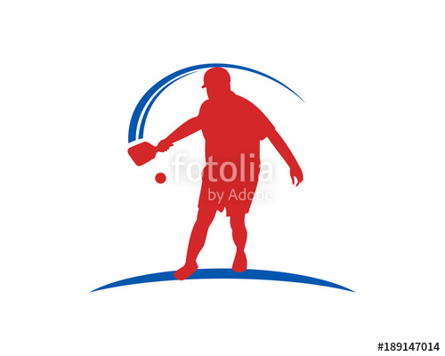 500x400 Hit The Ball On Pickle Ball Illustration Symbol Logo Modern Stock