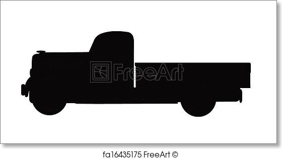 560x316 Free Art Print Of 37 Pickup Truck In Silhouette. Classic Vintage