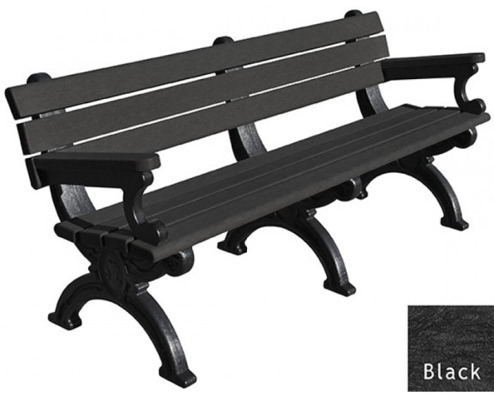 700x561 6 Foot Silhouette Park Bench With Arm Rest