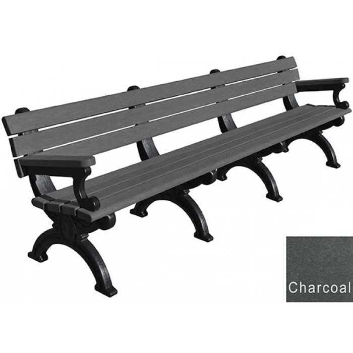 700x700 8 Foot Silhouette Park Bench With Arm Rest