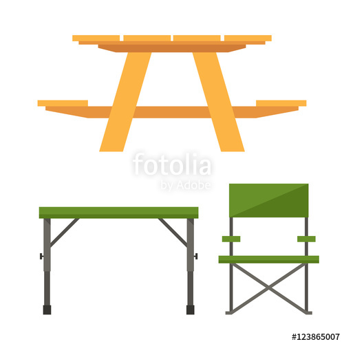 500x500 Wooden Camping Table Icon In Outline Design. Outdoor Picnic