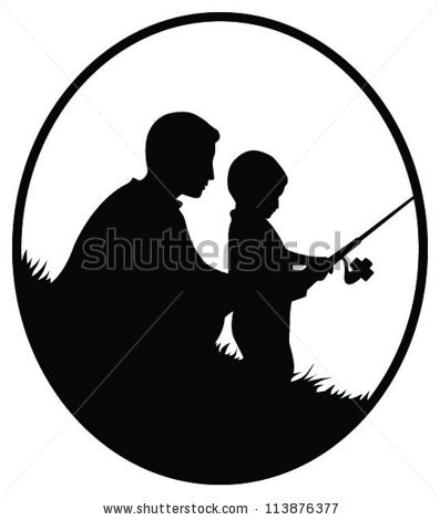 397x470 Stock Vector Vector Silhouette Illustration Of A Father And Son