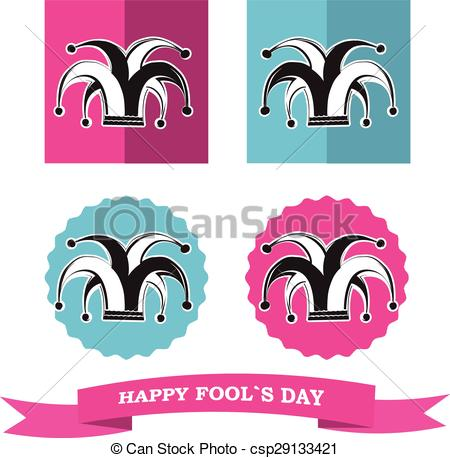 450x458 Vector Set From Silhouette Clowns Hat In Frame For Fools Day