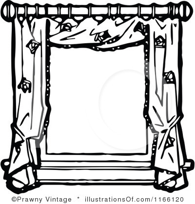 400x420 Clipart Black And White Window Frame With Drapes