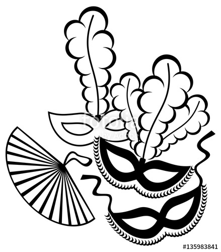 439x500 Black And White Silhouette Frame With Carnival Masks. Vector Clip