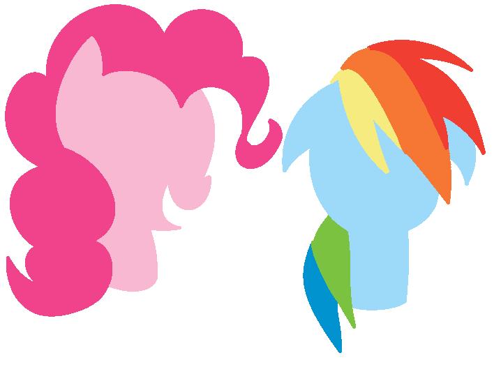 718x526 Pinkie Pie And Rainbow Dash Silhouette By Starlight247