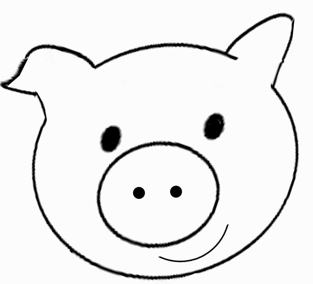 1024x927 Pig Face Coloring Page Coloring Pages Face, Craft
