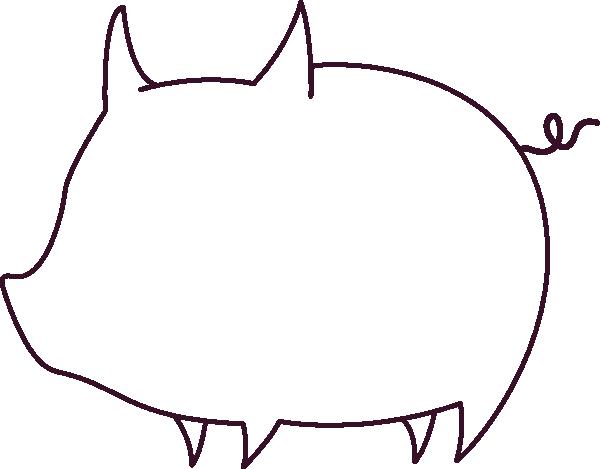 600x469 Pig Outline Clip Art