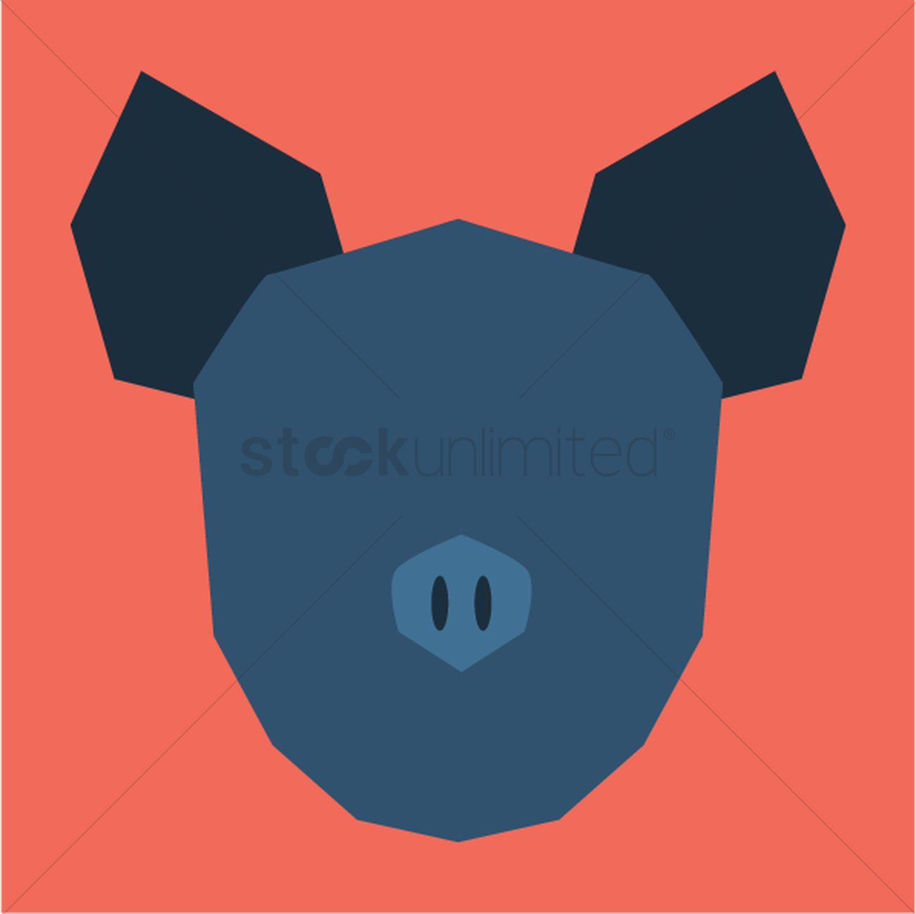 1300x1298 Silhouette Of Pig Face Vector Image