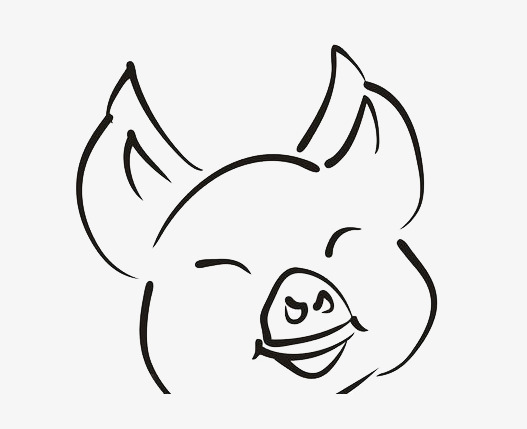 527x429 Spicy Hand Painted Happy Pig Silhouette Portrait, Line, Hand