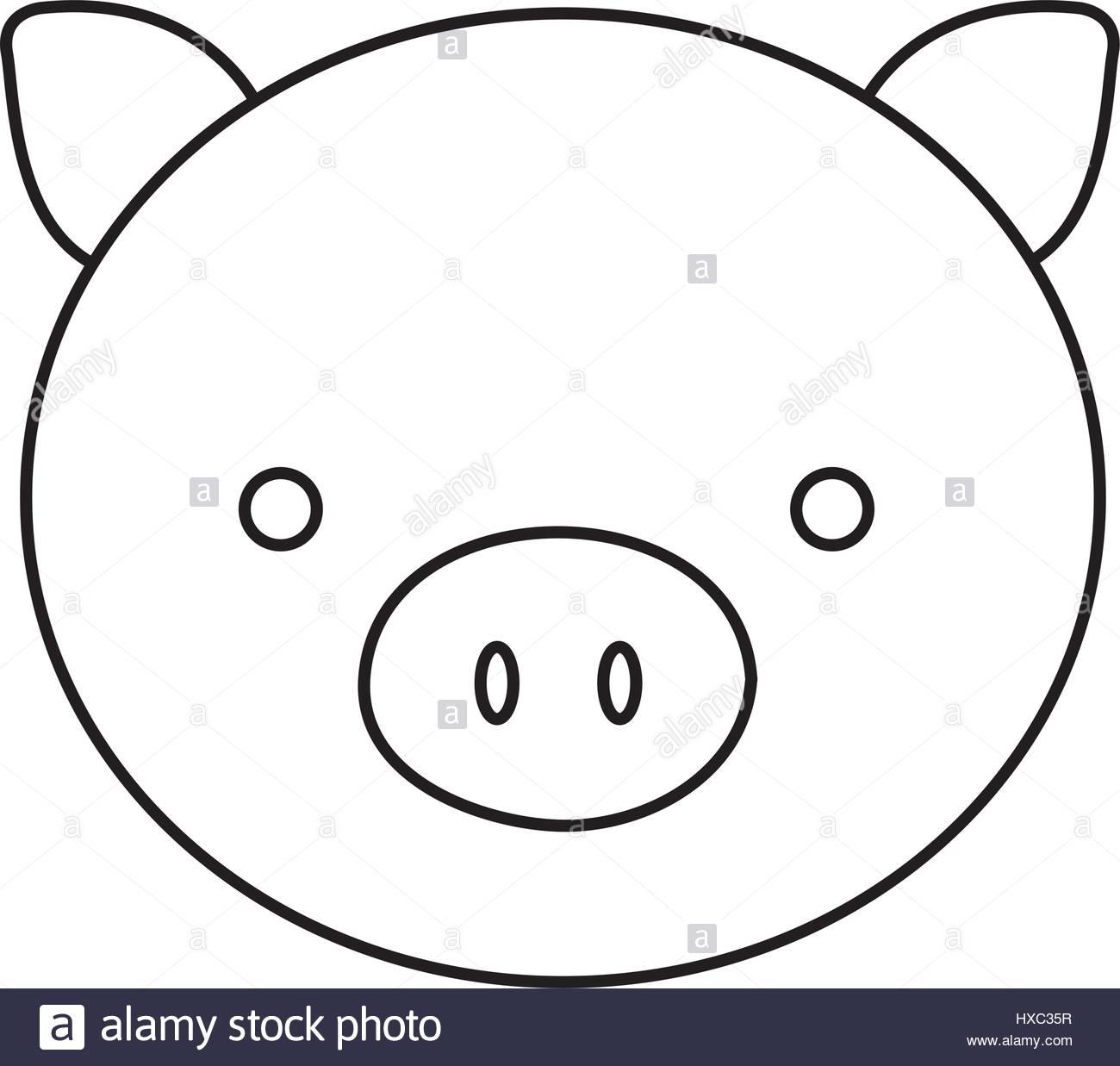 1300x1237 Silhouette Face Cute Pig Animal Farm Icon Stock Vector Art