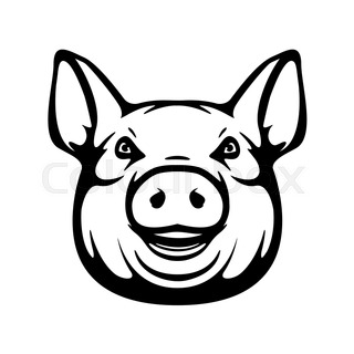 320x320 Pig, Silhouette And Outline Vector Stock Vector Colourbox