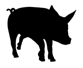 320x260 Pig Silhouette 2 Decal Sticker