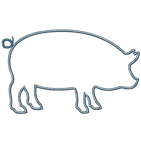 450x450 Pig Silhouette Applique