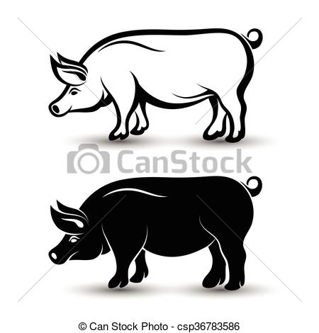 450x470 Vector Image Of Pig Silhouette And Drawing Design On White