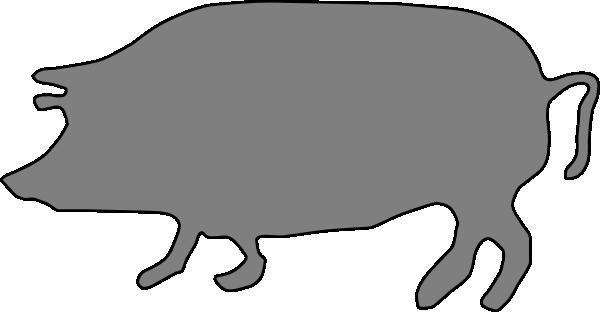 600x312 Gray, Pig, Silhouette Clip Art