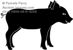 300x209 Art Illustration Of A Baby Pig Silhouette