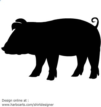 335x355 Pig Silhouette Clipart. Black And White Pictures For Newborns