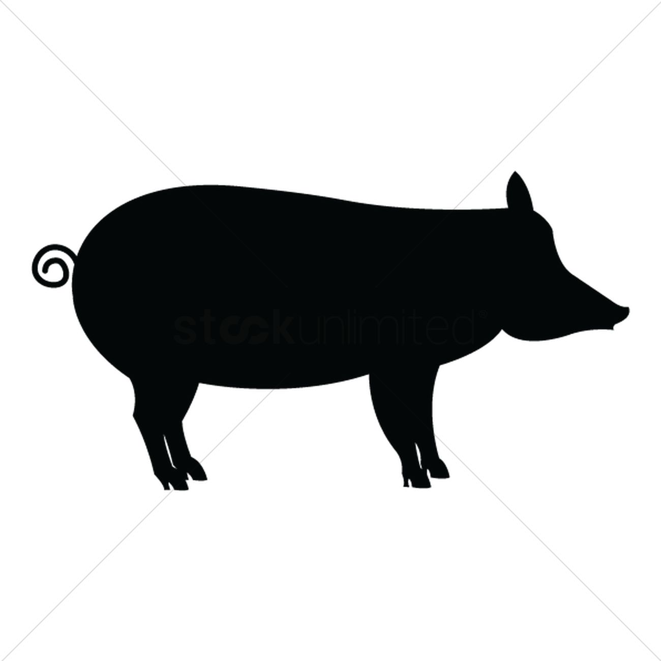 1300x1300 Silhouette Of Pig Vector Image