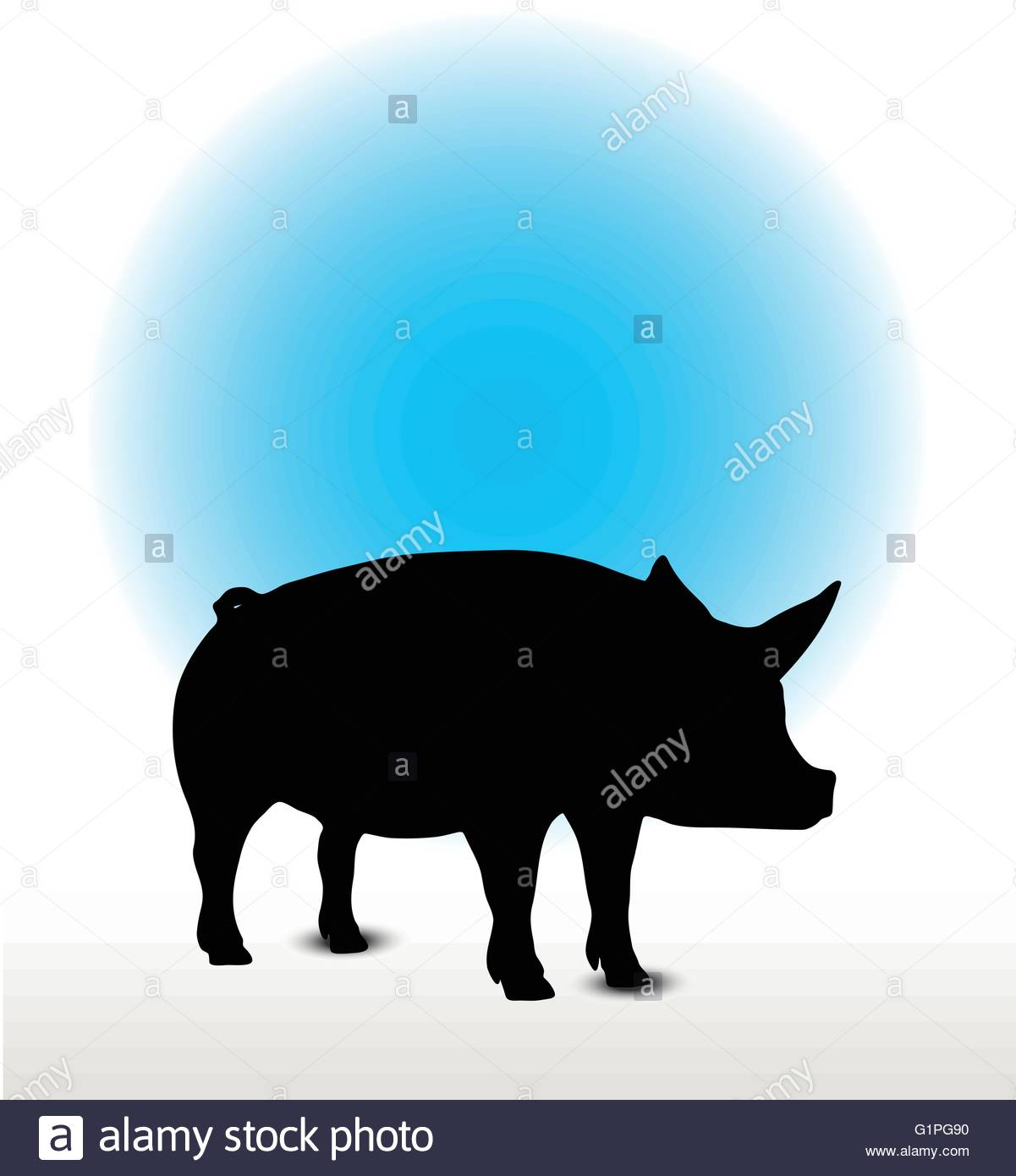 1201x1390 Vector Image, Pig Silhouette, In Curl Tail Pose, Isolated On White