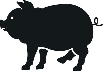 436x299 Vector Pig Black Color Illustration Isolated On White Background