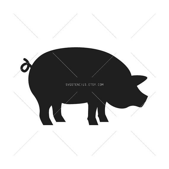 570x570 Svg Pig Stencils Silhouettes Monogram Black Vector Clip Svg