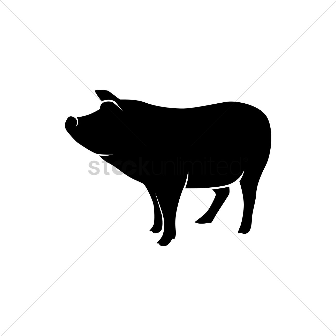 1300x1300 Silhouette Of A Pig Vector Image