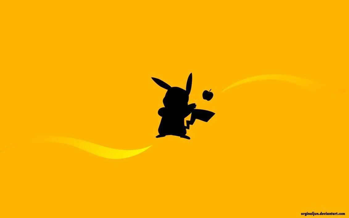 1131x707 Pikachu Catch The Apple Wallpaper By Orginaljun