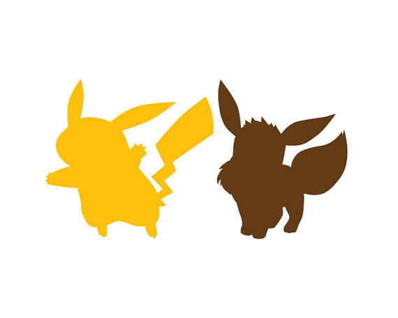 570x456 Pokemon Go Kanto Pikachu Eevee Pokemongo Silhouette Digital