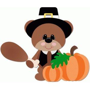 300x300 Silhouette Design Store Pilgrim Bear Holding Turkey Leg