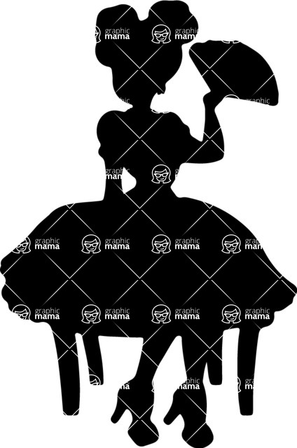424x640 Pin Up Girl Holding A Hand Fan Vector Silhouette Graphicmama