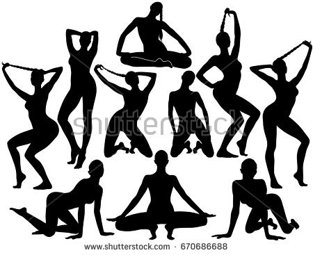 450x367 Free Clipart Of Silhouette Of A Big Breasted Model Standing Posing
