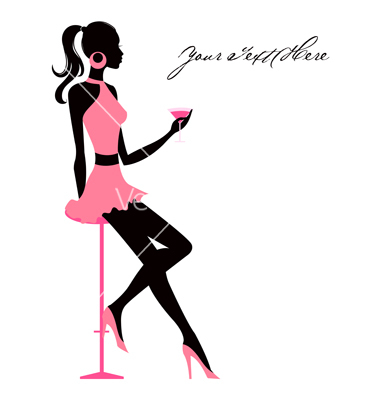 380x400 Pin Up Girl Martini Clipart