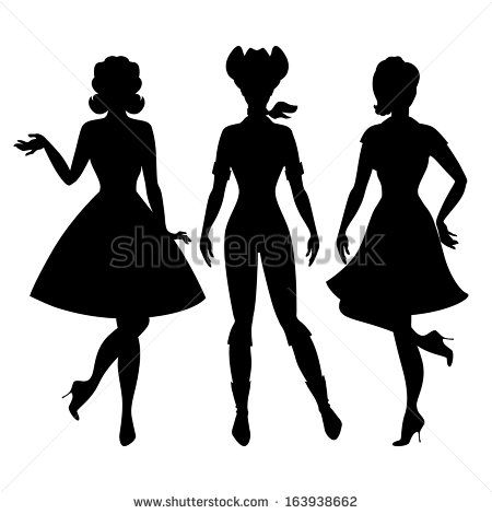 450x470 Silhouettes Of Beautiful Pin Up Girls 1950s Style. Prints