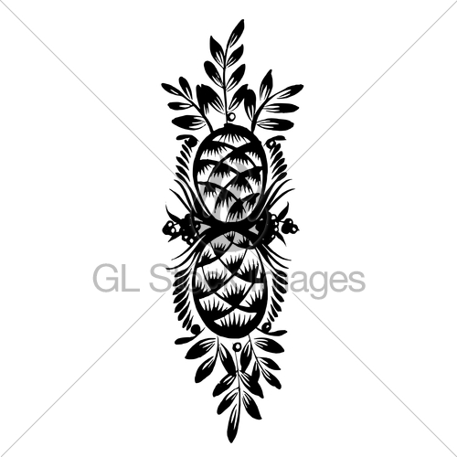 500x500 Decorative Silhouette Of Pine Cone Gl Stock Images