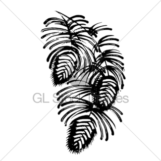 325x325 Decorative Silhouette Pine Cone With Pine Needles Gl Stock Images