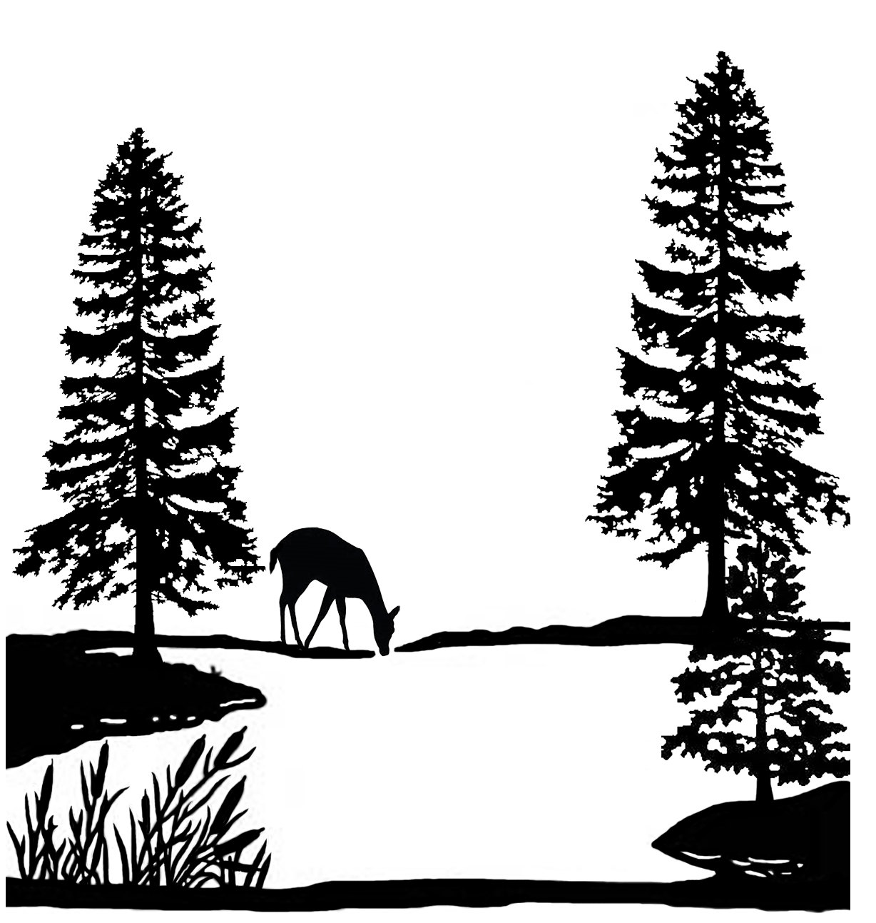 1228x1293 Pine Forest Lake Deer Scene 4 Black Silk Screen Enamel Fused