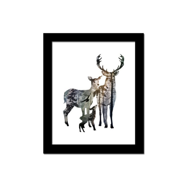 640x640 Cool Fashion Silhouette Of Deer Family With Pine Forest Canvas Art
